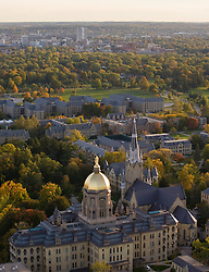Main Building and Basilica looking south toward downtown South Bend...Photo by Matt Cashore..