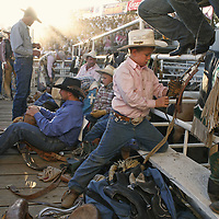 """Junior bull rider Jackson Barton, 8, of Sherwood, wore his pick shirt while getting ready for his event during """"Tough Enough to Wear Pink"""" evening at the St. Paul Rodeo on Wednesday, July 1, 2009. The event was to help raise awareness and money to help fight breast cancer. The St. Paul Rodeo Association donated $5 from every ticket sold to the local American Cancer Society's Making Strides Against Breast Cancer."""
