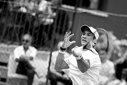 June 22, 2018 - L'Aquila, Italy - (EDITORS NOTE: Image has been converted to black and.white.) Facundo Bagnis during match between Daniel Elahi Galan (COL) and Facundo Bagnis (ARG) during day 7 at the Internazionali di Tennis Citt dell'Aquila (ATP Challenger L'Aquila) in L'Aquila, Italy, on June 22, 2018. (Credit Image: © Manuel Romano/NurPhoto via ZUMA Press)