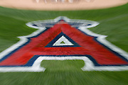 ANAHEIM, CA - JULY 21:  The logo of the Los Angeles Angels of Anaheim is painted on the field for the game against the Texas Rangers on Saturday, July 21, 2012 at Angel Stadium in Anaheim, California. The Rangers won the game 9-2. (Photo by Paul Spinelli/MLB Photos via Getty Images)