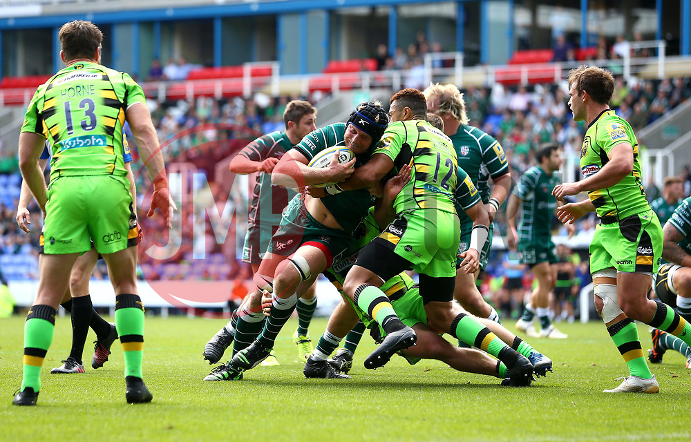 Franco van der Merwe of London Irish is tackled by Luther Burrell of Northampton Saints - Mandatory by-line: Robbie Stephenson/JMP - 24/09/2017 - RUGBY - Madejski Stadium - Reading, England - London Irish v Northampton Saints - Aviva Premiership