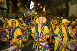 """Llamada"", ou ""Chamada"" , apogeu do carnaval uruguaio, noite do desfile de todas as comparsas de Candombe, heranca da cultura afro no Uruguai. Tem esse nome porque dizem que ""os tambores chamam"". / Candombe is performed regularly in the streets of Montevideo's central neighbourhoods. During Uruguay's Carnival period, all the comparsas, participate in a massive Carnival parade called Las Llamadas (""calls""). Candombe is a drum-based musical style of Uruguay."