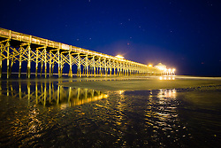 The Folly Beach Pier at night.