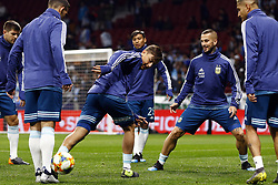 March 22, 2019 - Madrid, Madrid, Spain - Argentina's Paulo Bruno Dybala and his team mates are seen warming up before the International Friendly match between Argentina and Venezuela at the wanda metropolitano stadium in Madrid. (Credit Image: © Manu Reino/SOPA Images via ZUMA Wire)