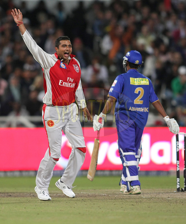 CAPE TOWN, SOUTH AFRICA - 26 April 2009. VRV Singh appeals unsuccessfully  for a catch   during the IPL Season 2 match between TheKings X1 Punjab and Rajasthan Royals held at Sahara Park Newlands in Cape Town, South Africa..