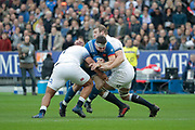 GUILHEM GUIRADOL (FRA) STOPPED BY CHRIS ROBSHAW (ENG) during the NatWest 6 Nations 2018 rugby union match between France and England on March 10, 2018 at Stade de France in Saint-Denis, France - Photo Stephane Allaman / ProSportsImages / DPPI