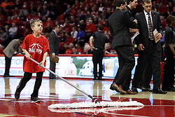 15 January 2016: Ball crew Broom Boy during the Illinois State Redbirds v Evansville Purple Aces at Redbird Arena in Normal Illinois (Photo by Alan Look)