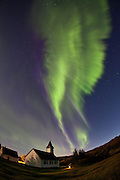 Aurora Borealis formed like angel wings in Þingvellir National Park, south-west Iceland