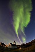 Aurora Borealis formed like angel wings in Þingvellir National Park, south-west Iceland