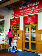 11 DECEMBER 2018 - SINGAPORE:  An employment agency in the Geylang neighborhood that specializes in placing Burmese women as domestic servants in Singapore. The Geylang area of Singapore, between the Central Business District and Changi Airport, was originally coconut plantations and Malay villages. During Singapore's boom the coconut plantations and other farms were pushed out and now the area is a working class community of Malay, Indian and Chinese people. In the 2000s, developers started gentrifying Geylang and new housing estate developments were built.   PHOTO BY JACK KURTZ