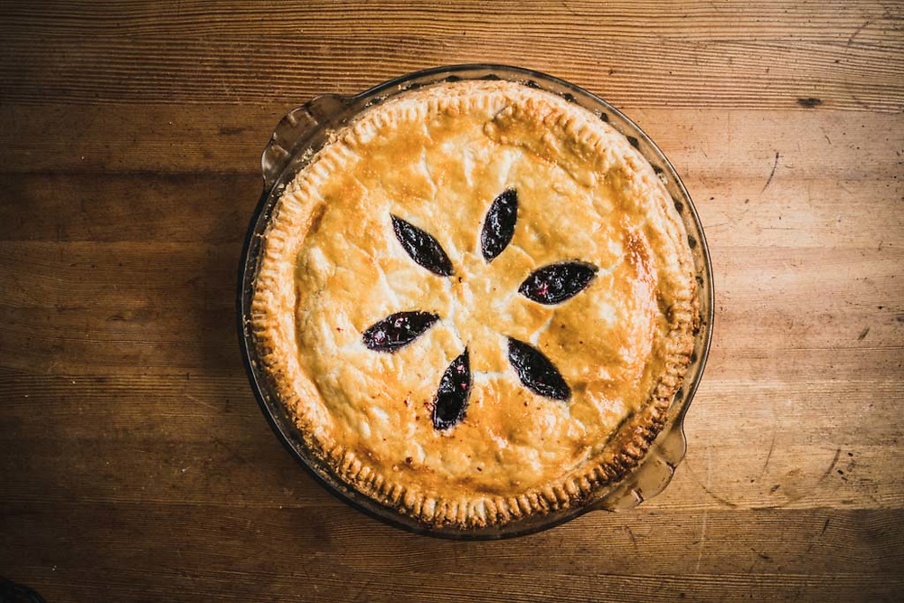 Monika Loeschberger's blackberry pie, made from scratch and baked to perfection in the Pioneer Made Wood Oven, Burnie Glacier Chalet, Howson Range, BC.