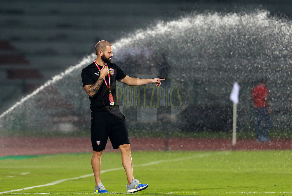 Hans Mulder of Chennaiyin FC arrive on the ground before the start of the  during match 18 of the Indian Super League (ISL) season 3 between NorthEast United FC and Chennaiyin FC held at the Indira Gandhi Athletic Stadium in Guwahati, India on the 20th October 2016.<br /> <br /> Photo by Vipin Pawar / ISL/ SPORTZPICS