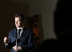 © Licenced to London News Pictures. 29/01/2014. London. UK.  <br /> Deputy Prime Minister Nick Clegg is pictured speaking at a reception at the British Museum in London, January 29th 2014. The leader of the Liberal Democrat Party is joined by representatives from the Mexican and Colombian Embassies ahead of his trade and investment visit to Colombia and Mexico next week.<br /> Photo Credit: Susannah Ireland