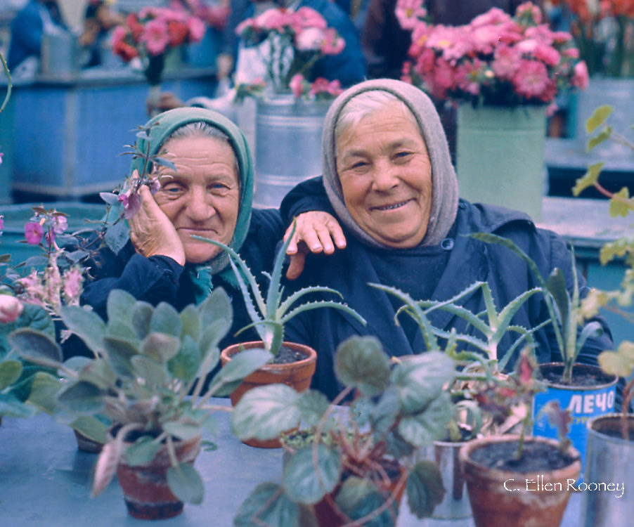 Two babushkas surrounded by plants  in an open market<br /> Moscow, Russia