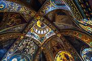 Orthodox service at Assumption Church ( Church of the Assumption of the Blessed Virgin ) - a stauropegic Orthodox Church on Vasilyevsky Island St. Petersburg. Prayers inside an orthodox church.
