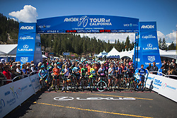 Riders listen to the National Anthem on Stage 2 of the Amgen Tour of California - a 108 km road race, starting and finishing in South Lake Tahoe on May 18, 2018, in California, United States. (Photo by Balint Hamvas/Velofocus.com)