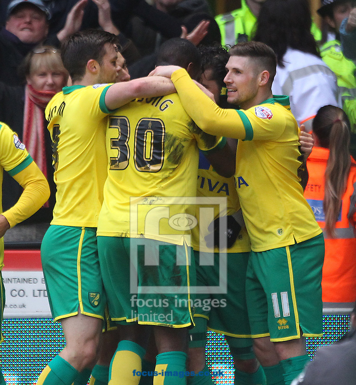 Bradley Johnson of Norwich celebrates scoring his sides 1st goal during the Sky Bet Championship match at Carrow Road, Norwich<br /> Picture by Paul Chesterton/Focus Images Ltd +44 7904 640267<br /> 14/02/2015