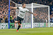 Goal - Derby County forward Jack Marriott (14) celebrates scoring the equaliser during the EFL Cup 4th round match between Chelsea and Derby County at Stamford Bridge, London, England on 31 October 2018.