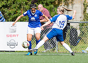 Gabrielle George (Everton Ladies) and Erin Kelley (Durham Womens FC) compete for the ball during the FA Women's Super League match between Durham Women FC and Everton Ladies at New Ferens Park, Belmont, United Kingdom on 30 August 2015. Photo by George Ledger.