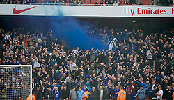 08.03.2014, Emirates Stadium, London, ENG, FA Cup, FC Arsenal vs FC Everton, Viertel Finale, im Bild Everton supporters celebrate their side's first equalising goal against Arsenal with, blue smoke bomb // during the English FA Cup quater final match between Arsenal FC and Everton FC at the Emirates Stadium in London, Great Britain on 2014/03/08. EXPA Pictures © 2014, PhotoCredit: EXPA/ Propagandaphoto/ David Rawcliffe<br /> <br /> *****ATTENTION - OUT of ENG, GBR*****
