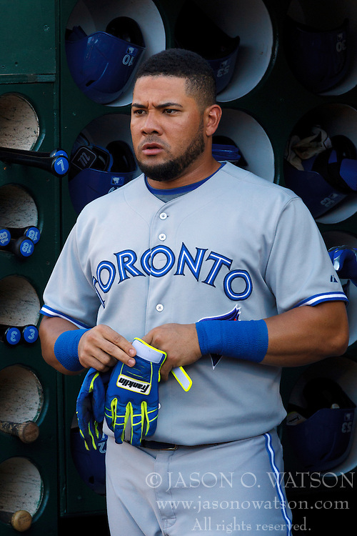 OAKLAND, CA - JULY 05:  Melky Cabrera #53 of the Toronto Blue Jays stands in the dugout before the game against the Oakland Athletics at O.co Coliseum on July 5, 2014 in Oakland, California. The Oakland Athletics defeated the Toronto Blue Jays 5-1.  (Photo by Jason O. Watson/Getty Images) *** Local Caption *** Melky Cabrera
