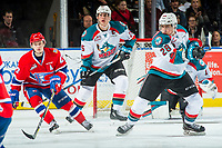 KELOWNA, CANADA - MARCH 3: Kailer Yamamoto #17 of the Spokane Chiefs watches the puck after a pass from Leif Mattson #28 of the Kelowna Rockets on March 3, 2018 at Prospera Place in Kelowna, British Columbia, Canada.  (Photo by Marissa Baecker/Shoot the Breeze)  *** Local Caption ***