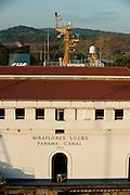 Control Building at Miraflores Locks. Panama Canal, Panama City, Panama, Central America.