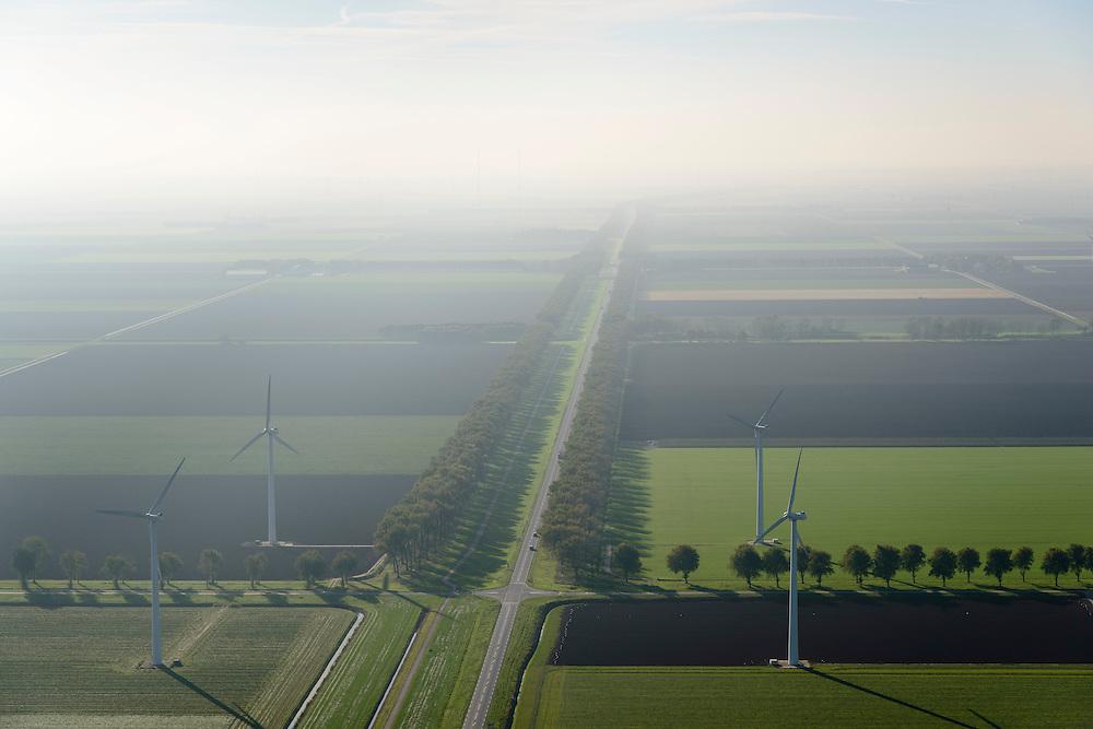 Nederland, Flevoland, Zeewolde, 28-10-2014; Vogelweg met windturbines in de mist in de herfst.<br /> Wind turbines in the fog in autumn.<br /> luchtfoto (toeslag op standard tarieven);<br /> aerial photo (additional fee required);<br /> copyright foto/photo Siebe Swart