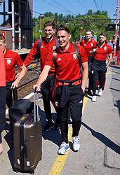 RUNCORN, ENGLAND - Tuesday, May 22, 2018: Wales' Connor Roberts at Runcorn Station as the squad travel by train as they head to Heathrow for a flight to Los Angeles ahead of the international friendly match against Mexico. (Pic by David Rawcliffe/Propaganda)