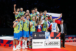 PARIS, FRANCE - SEPTEMBER 29: Team Slovenia celebrates their Silver medal after the EuroVolley 2019 Final match between Serbia and Slovenia at AccorHotels Arena on September 29, 2019 in Paris, France.  Photo by Catherine Steenkeste / Sipa / Sportida