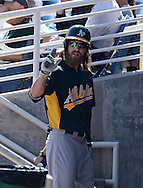 PHOENIX, AZ - FEBRUARY 23:  Josh Reddick #16 of the Oakland Athletics walks back to the dugout after striking out against the Milwaukee Brewers during the spring training game at Maryvale Baseball Park on February 23, 2013 in Phoenix, Arizona.  (Photo by Jennifer Stewart/Getty Images) *** Local Caption *** Josh Reddick