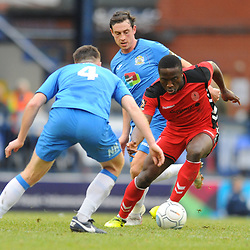 TELFORD COPYRIGHT MIKE SHERIDAN 16/2/2019 - Dan Udoh of AFC Telford weaves his way through the Stockport defence during the Vanarama Conference North fixture between Stockport County and AFC Telford United at Edgeley Park
