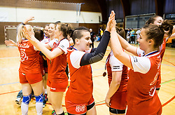3rd placed Neza Hohnjec and other players of RK Celje celebrate after the handball match between RK Krim Mercator and ZRK Z'Dezele Celje in Last Round of Slovenian National Championship 2016/17, on April 18, 2017 in Arena Galjevica, Ljubljana, Slovenia. Photo by Vid Ponikvar / Sportida