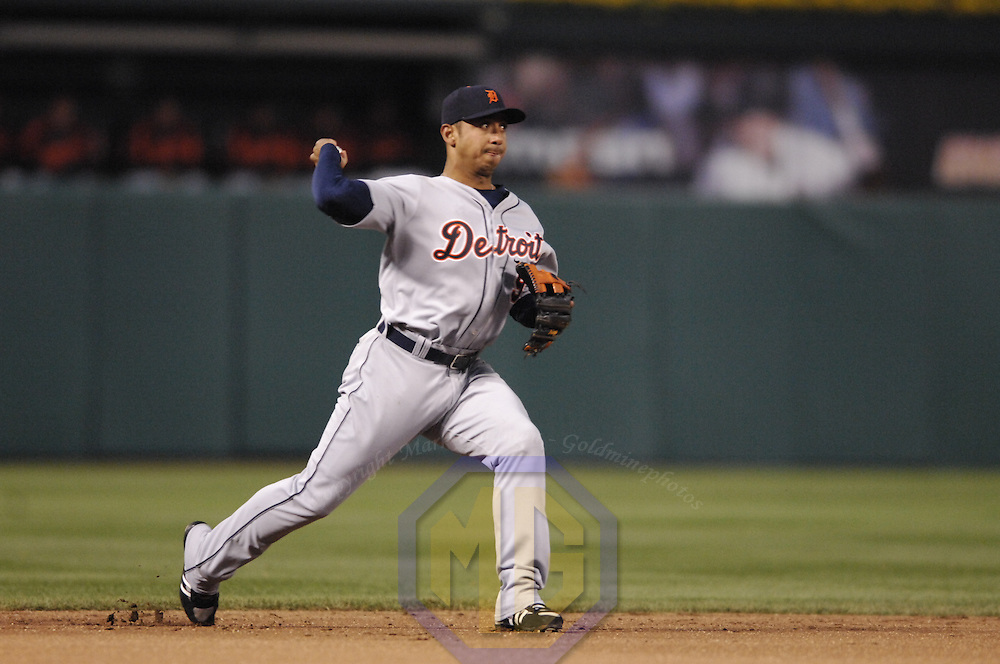 11 April 2007:  Detroit Tigers shortstop Carlos Guillen (9) in action against the Baltimore Orioles.  The Tigers defeated the Orioles 4-1 on  grand slam by left fielder Craig Monroe in the 12th inning at Camden Yards in Baltimore, MD.