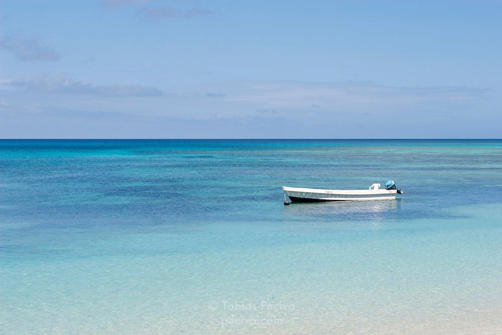 Boat anchored near Oarsman's Bay Lodge, on Nacula Island. Nacula is part of the Yasawa Islands, on the western side of Fiji.