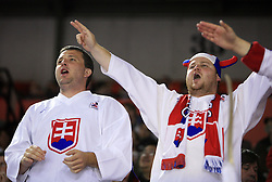 Slovakian Fans at ice-hockey game Slovenia vs Slovakia at Relegation  Round (group G) of IIHF WC 2008 in Halifax, on May 09, 2008 in Metro Center, Halifax, Nova Scotia, Canada. Slovakia won 5:1. (Photo by Vid Ponikvar / Sportal Images)