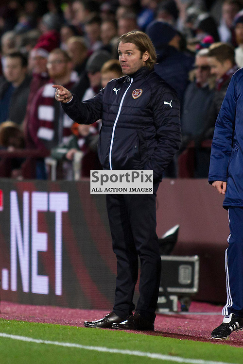 Hearts Head Coach Robbie Neilson during the Ladbrokes Scottish Premiership match between Heart of Midlothian FC and Dundee FC at Tynecastle Stadium on November 21, 2015 in Edinburgh, Scotland. Photo by Jonathan Faulds/SportPix