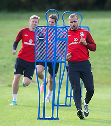 CARDIFF, WALES - Saturday, October 13, 2012: Wales' Hal Robson-Kanu during a recovery training session ahead of the Brazil 2014 FIFA World Cup Qualifying Group A match against Croatia at the Vale of Glamorgan Hotel. (Pic by David Rawcliffe/Propaganda)