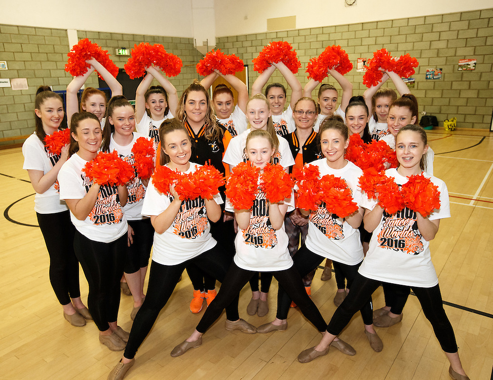 Samantha Brisbane School of Dance - Ultimate Uproar. With they're pom-poms Avenue End School in Craigend, Glasgow. Practice ahead of representing team and country at Dance Worlds 2016 in Orlando, Florida.  More than 40 countries take part and the girls will be representing Scotland.  The competition takes place at Disney's Coronation Springs Resort, a hotel at Disney World.  The event brings together 9,000 cheerleaders and 3,500 dancers to vie for world titles and international categories. Picture Robert Perry 12th April 2016<br /> <br /> Must credit photo to Robert Perry<br /> FEE PAYABLE FOR REPRO USE<br /> FEE PAYABLE FOR ALL INTERNET USE<br /> www.robertperry.co.uk<br /> NB -This image is not to be distributed without the prior consent of the copyright holder.<br /> in using this image you agree to abide by terms and conditions as stated in this caption.<br /> All monies payable to Robert Perry<br /> <br /> (PLEASE DO NOT REMOVE THIS CAPTION)<br /> This image is intended for Editorial use (e.g. news). Any commercial or promotional use requires additional clearance. <br /> Copyright 2014 All rights protected.<br /> first use only<br /> contact details<br /> Robert Perry     <br /> 07702 631 477<br /> robertperryphotos@gmail.com<br /> no internet usage without prior consent.         <br /> Robert Perry reserves the right to pursue unauthorised use of this image . If you violate my intellectual property you may be liable for  damages, loss of income, and profits you derive from the use of this image.