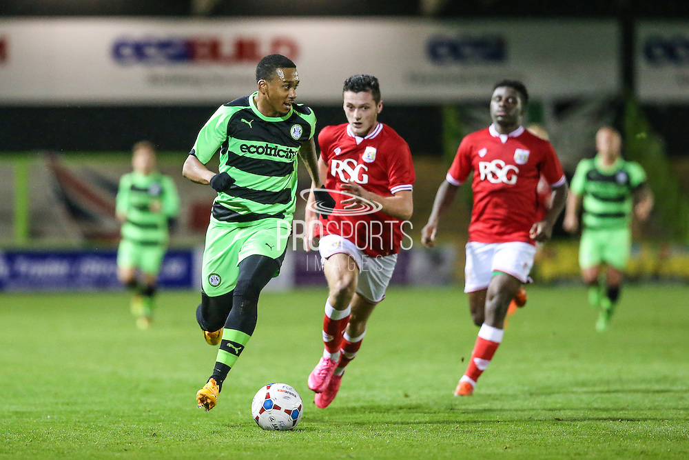 Keanu Marsh-Brown on the ball during the The County Cup match between Forest Green Rovers and Bristol City at the New Lawn, Forest Green, United Kingdom on 23 November 2015. Photo by Shane Healey.