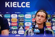 KIELCE, POLEN 2017-06-15<br /> Kristoffer Olsson  under U21 landslagets presskonferens p&aring;  Arena Kielce den 15 juni 2017.<br /> Foto: Nils Petter Nilsson/Ombrello<br /> Fri anv&auml;ndning f&ouml;r kunder som k&ouml;pt U21-paketet.<br /> Annars Betalbild.<br /> ***BETALBILD***