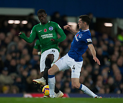 Yves Bissouma of Brighton and Hove Albion (L) and Michael Keane of Everton in action - Mandatory by-line: Jack Phillips/JMP - 03/11/2018 - FOOTBALL - Goodison Park - Liverpool, England - Everton v Brighton and Hove Albion - English Premier League