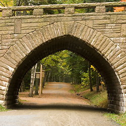A bridge spans a carriage road near Eagle Lake in Maine's Acadia National Park.