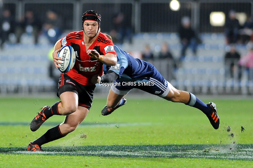 Crusader Tyler Bleyendaal in action during their Super15 Rugby game Crusaders v Blues. New AMI Stadium, Addington, Christchurch, New Zealand. Saturday 19 May 2012. Photo: Chris Symes/www.photosport.co.nz