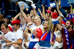 Fans of France during basketball game between National basketball teams of France and Spain at FIBA Europe Eurobasket Lithuania 2011, on September 11, 2011, in Siemens Arena,  Vilnius, Lithuania.  (Photo by Vid Ponikvar / Sportida)