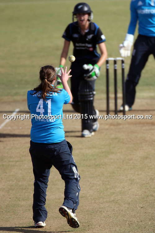 Anya Shrubsole fields off her own bowling. New Zealand White Ferns v England - 3rd ODI at Bay Oval, Mount Maunganui, New Zealand. 15 February 2015. Photo credit: Margot Butcher/www.photosport.co.nz