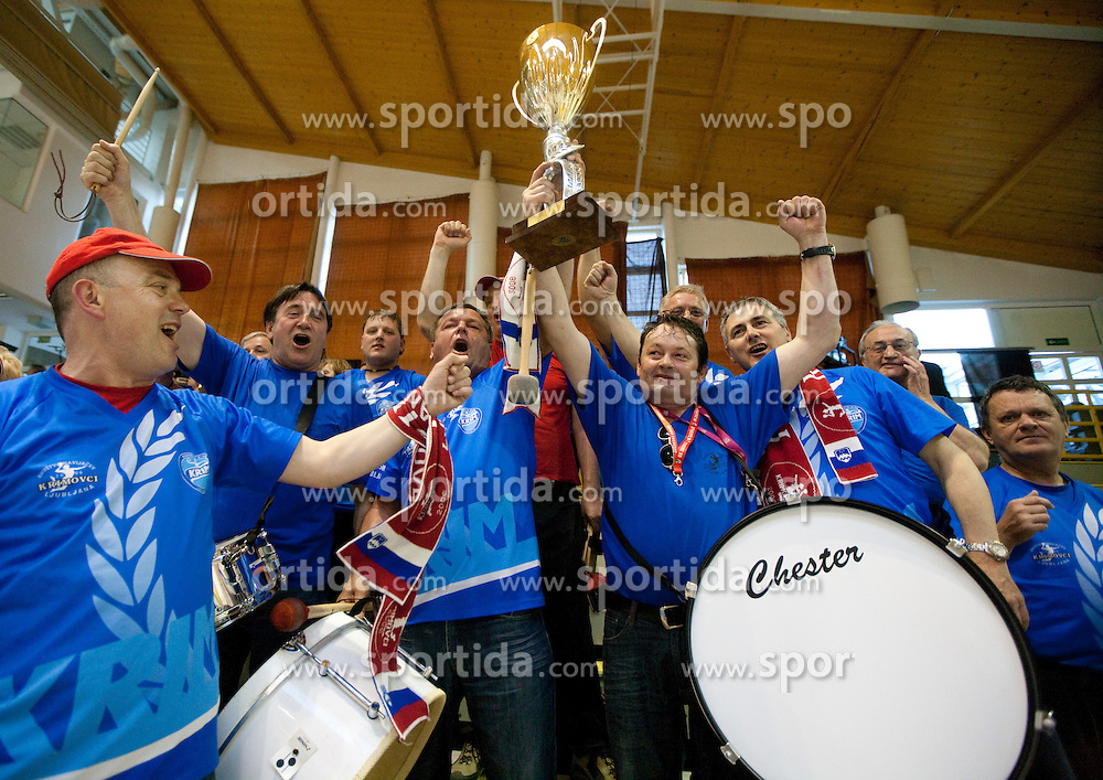 Krimovci, fans of Krim celebrate after the handball match between ZRK Krka and RK Krim Mercator in Final of Slovenian Women Cup, on April 3, 2011, in Sports Arena Zagorje, Slovenia. Krim defeated Krka 40-18 and became Slovenian Cup Champion. (Photo by Vid Ponikvar / Sportida)