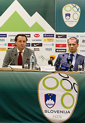 Slavisa Stojanovic, a new head coach of Slovenian National football Team and Aleksander Ceferin, president of NZS during press conference of Football federation of Slovenia, on October 24, 2011, in Brdo pri Kranju, Slovenia.  (Photo by Vid Ponikvar / Sportida)
