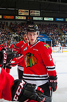 KELOWNA, CANADA - APRIL 14: Caleb Jones #3 and Brad Ginnell #27 of the Portland Winterhawks fist pump the bench to celebrate a goal against the Kelowna Rockets on April 14, 2017 at Prospera Place in Kelowna, British Columbia, Canada.  (Photo by Marissa Baecker/Shoot the Breeze)  *** Local Caption ***