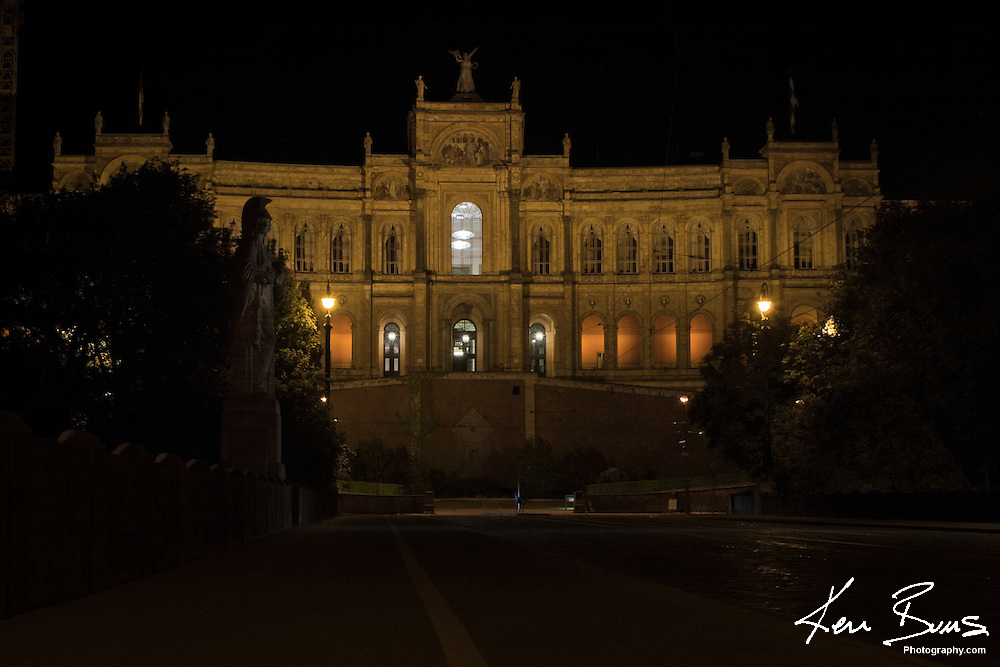 The Maximilianeum at night. This is the Bavarian State Parliament building designed by Friedrich Bürklein. It was completed in 1874 and sits next to the river Isar in Munich.